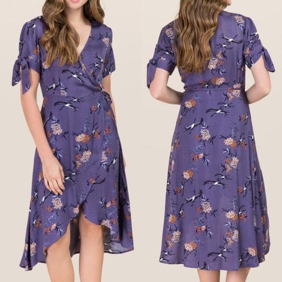 Francesca's Blue Rain Midi Wrap Dress
